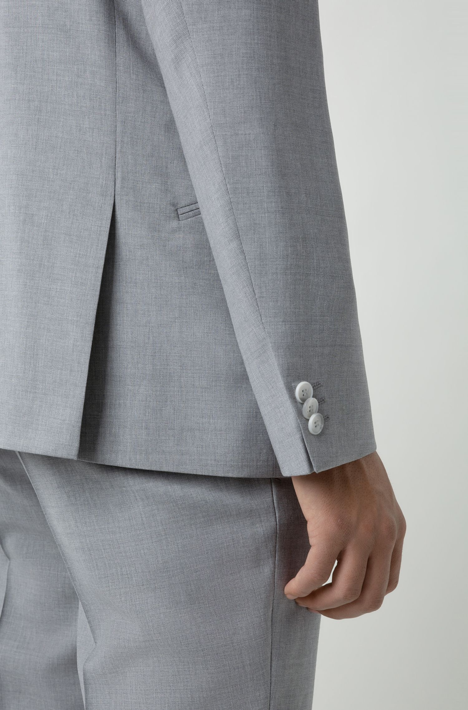 Extra-slim-fit virgin-wool suit with micro pattern, Open Grey