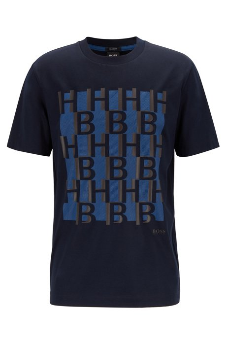 Regular-fit monogram-print T-shirt in mercerized cotton, Dark Blue