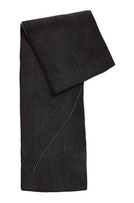 Rib-knit scarf in melange virgin wool, Black