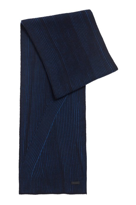 Rib-knit scarf in melange virgin wool, Dark Blue
