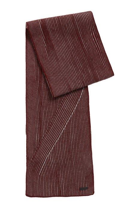 Rib-knit scarf in melange virgin wool, Dark Red