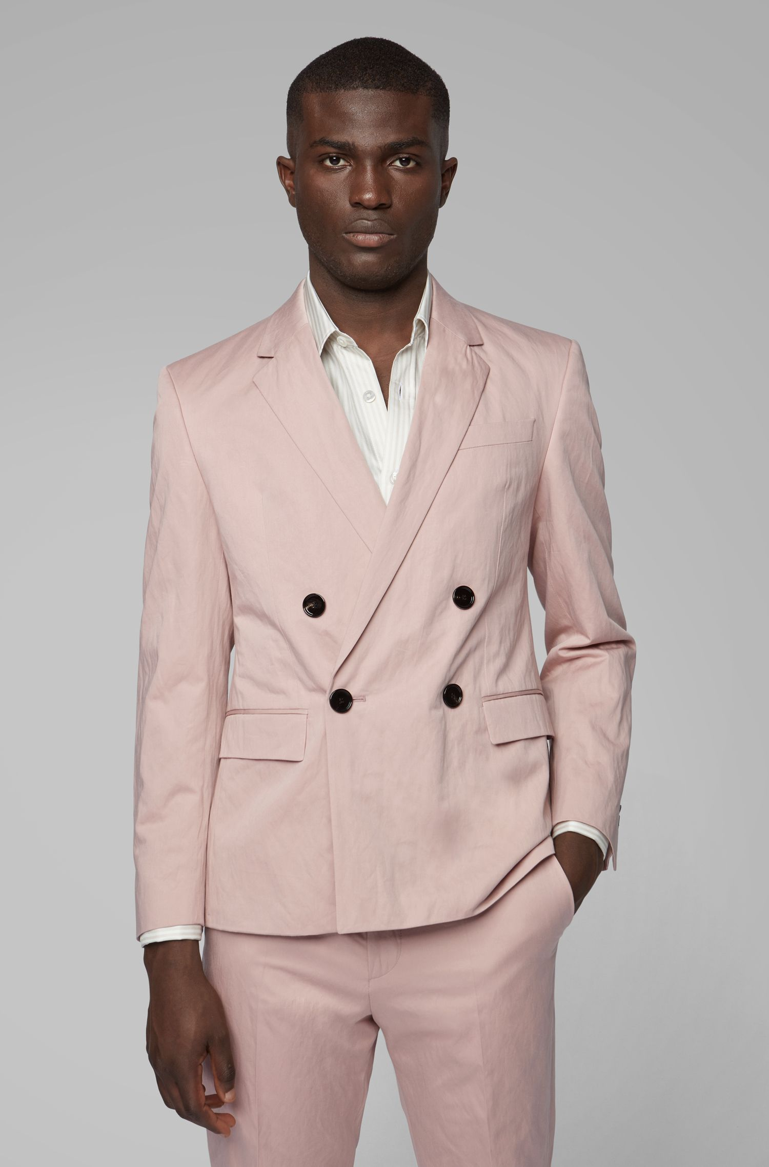 Fashion Show slim-fit suit in metalized cotton, light pink
