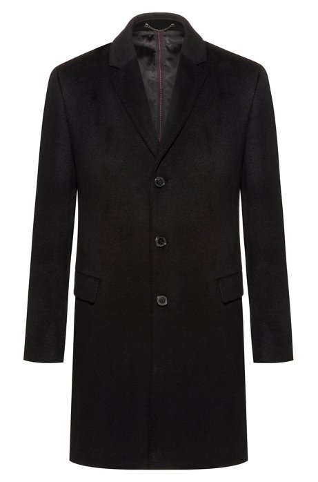 Slim-fit coat in pure cashmere with signature stitching, Black