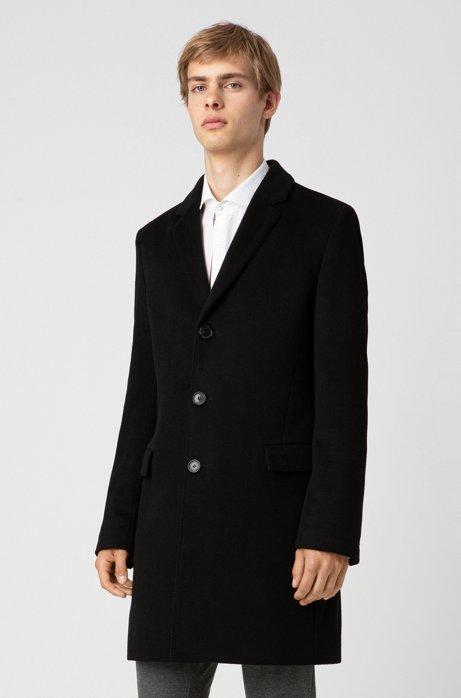 Slim-fit coat in pure cashmere with signature stitching, Black