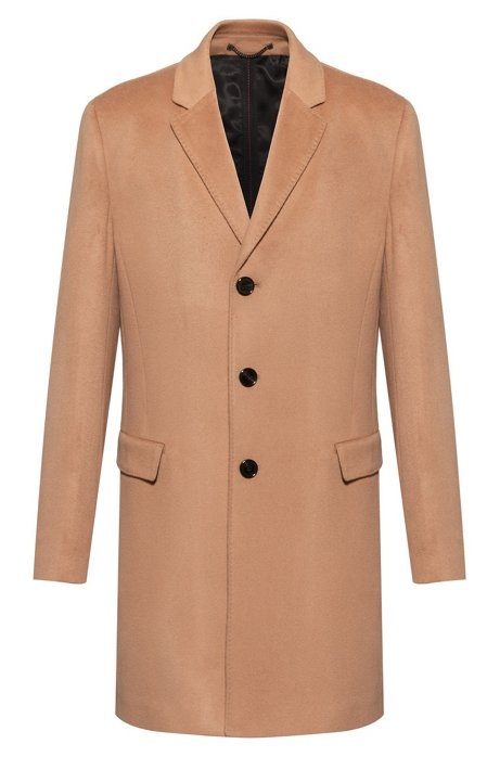 Slim-fit coat in pure cashmere with signature stitching, Light Brown