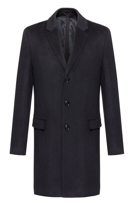 Slim-fit coat in pure cashmere with signature stitching, Dark Blue