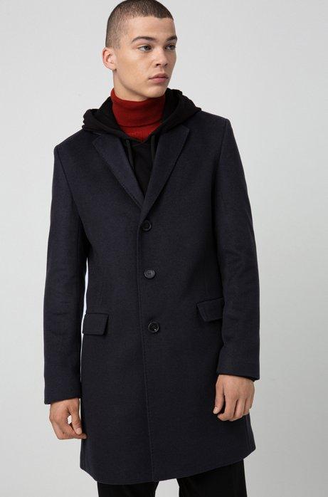 Slim-fit coat in pure cashmere with signature stitching, Dark Blue
