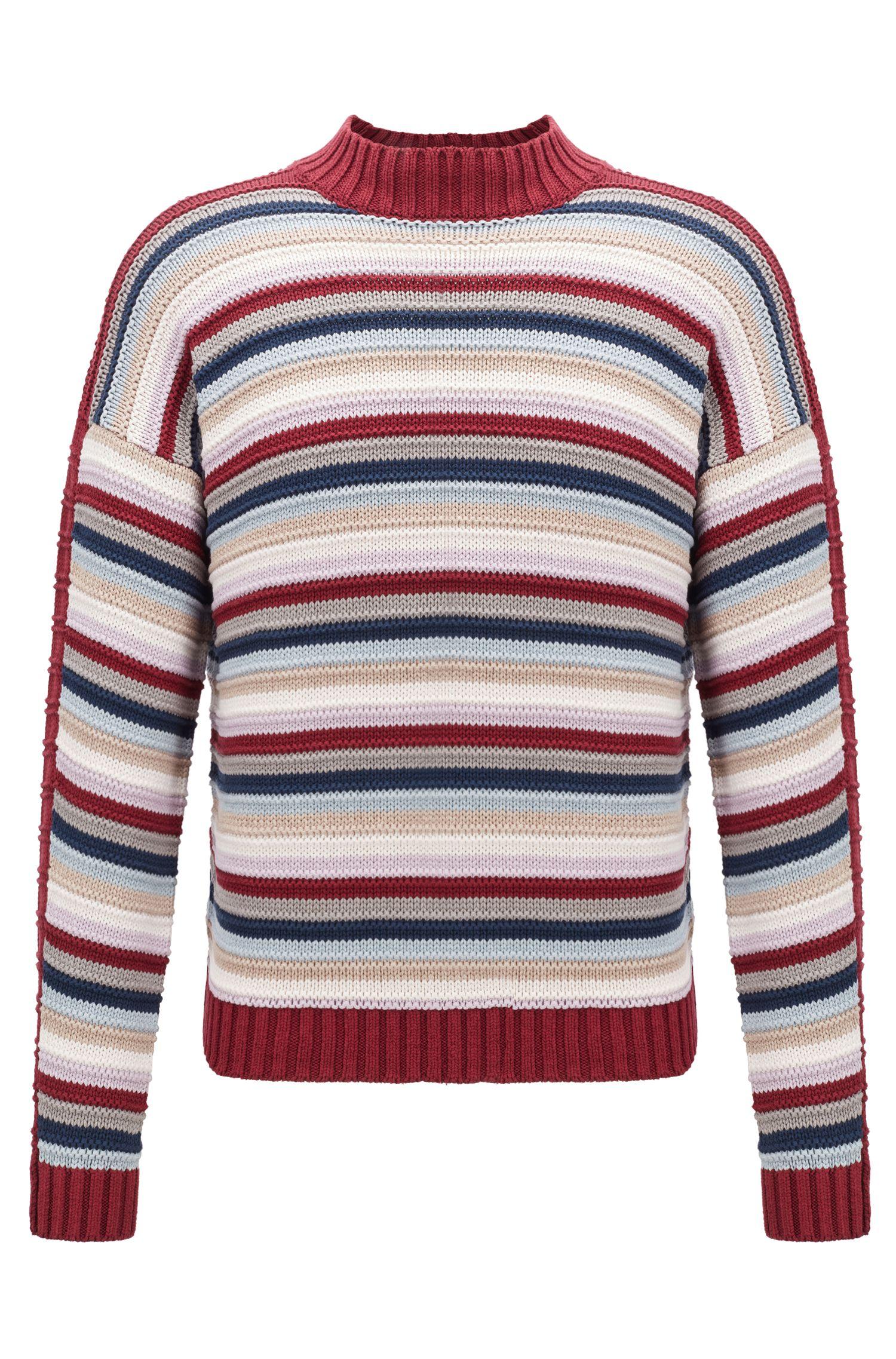 Fashion Show silk sweater in a multicolored stripe, Dark Red