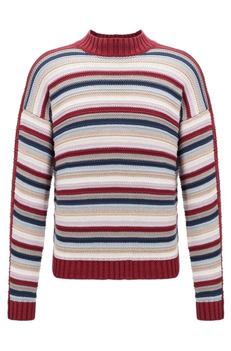f1f677521aa00e Fashion Show silk sweater in a multicolored stripe, Dark Red