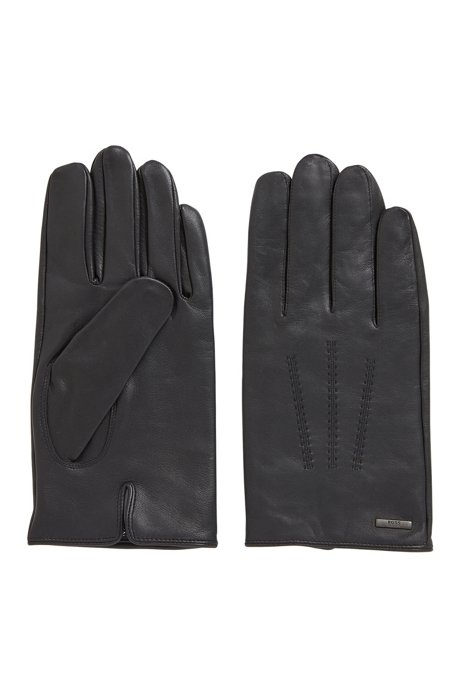Lined gloves in nappa leather with stitched details, Black