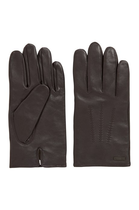 Lined gloves in nappa leather with stitched details, Dark Brown