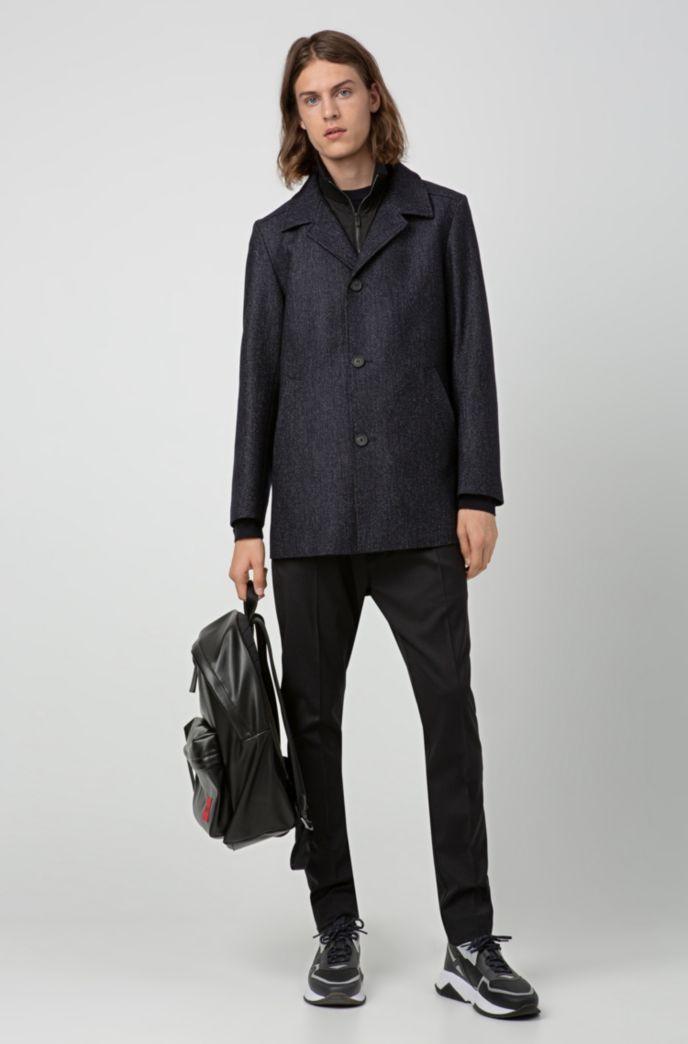 Regular-fit coat in wool blend with detachable bib