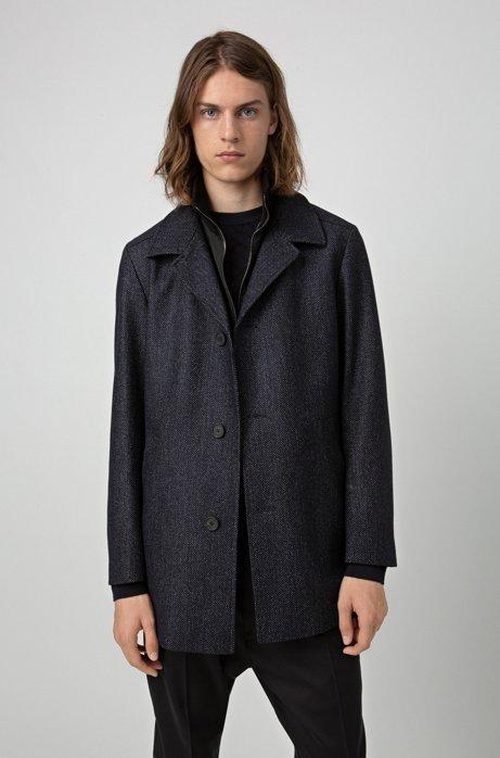 Regular-fit coat in wool blend with detachable bib, Dark Blue