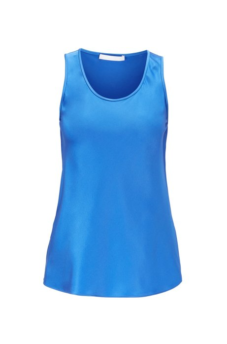 Scoop-neck sleeveless top in stretch silk, Blue