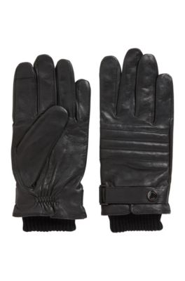 Quilted gloves in lambskin with touchscreen-friendly tips, Black