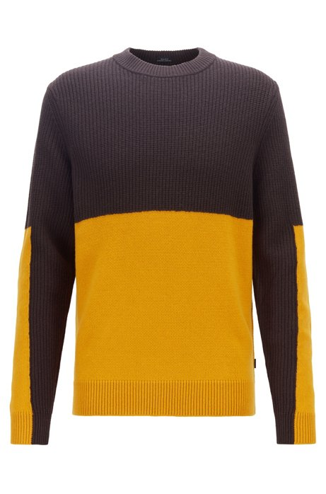 Regular-fit sweater with mixed-structure color blocking, Dark Brown