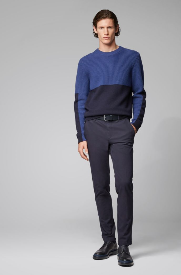 Regular-fit sweater with mixed-structure color blocking