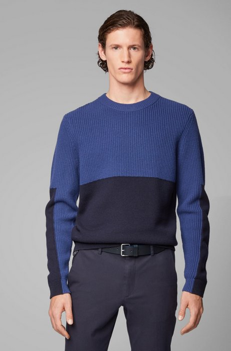 Regular-fit sweater with mixed-structure color blocking, Dark Blue