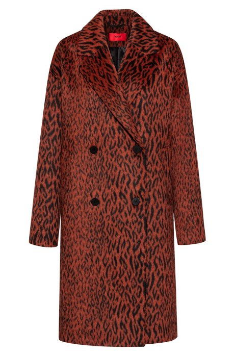 Relaxed-fit double-breasted coat in leopard fabric, Brown