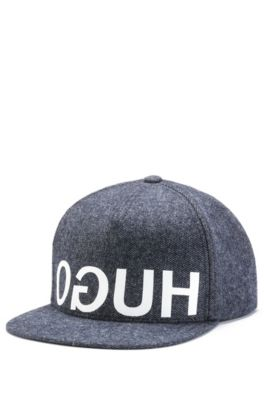 Denim-look cap with reverse-logo print, Dark Blue
