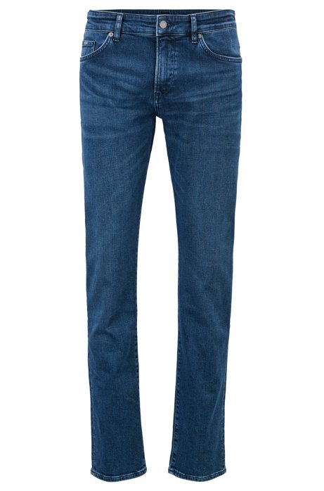 Slim-fit jeans in petrol-cast stretch denim, Blue
