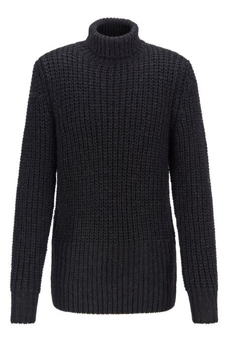 Rollneck sweater in mixed chunky-knit structures, Open Grey