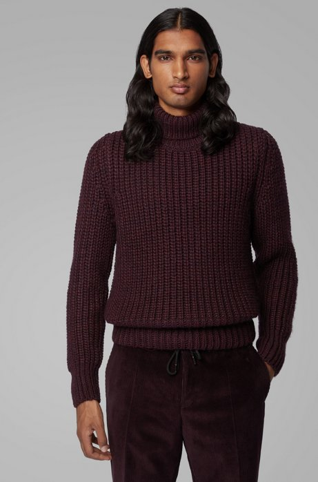 Rollneck sweater in mixed chunky-knit structures, Dark Purple
