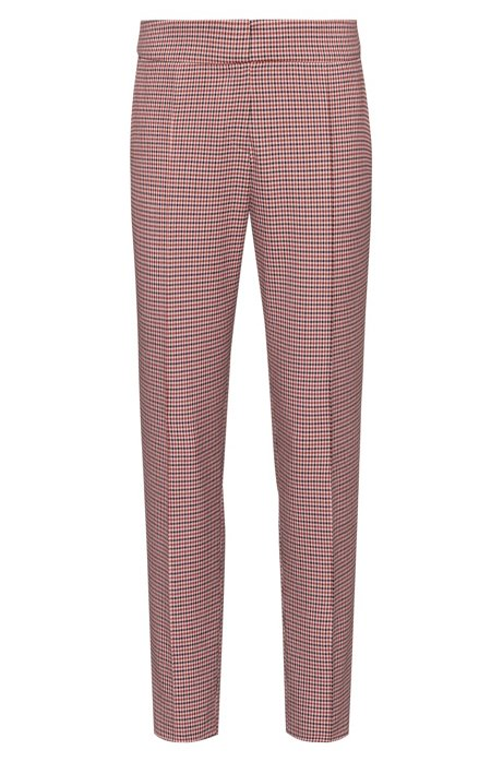 Slim-fit pants with micro-houndstooth pattern, Patterned