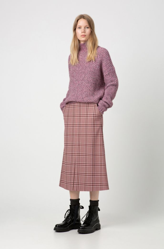 Regular-fit A-line skirt with colorful check
