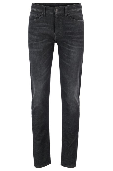 Slim-fit jeans in super-stretch black denim, Charcoal