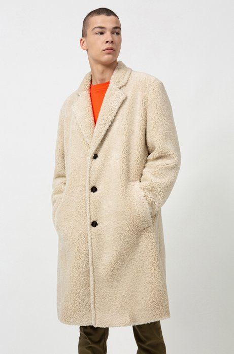 Relaxed-fit teddy coat with logo lining, Natural