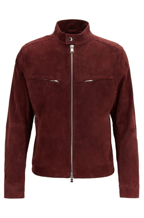 Regular-fit biker jacket in suede with zipper details, Dark Red