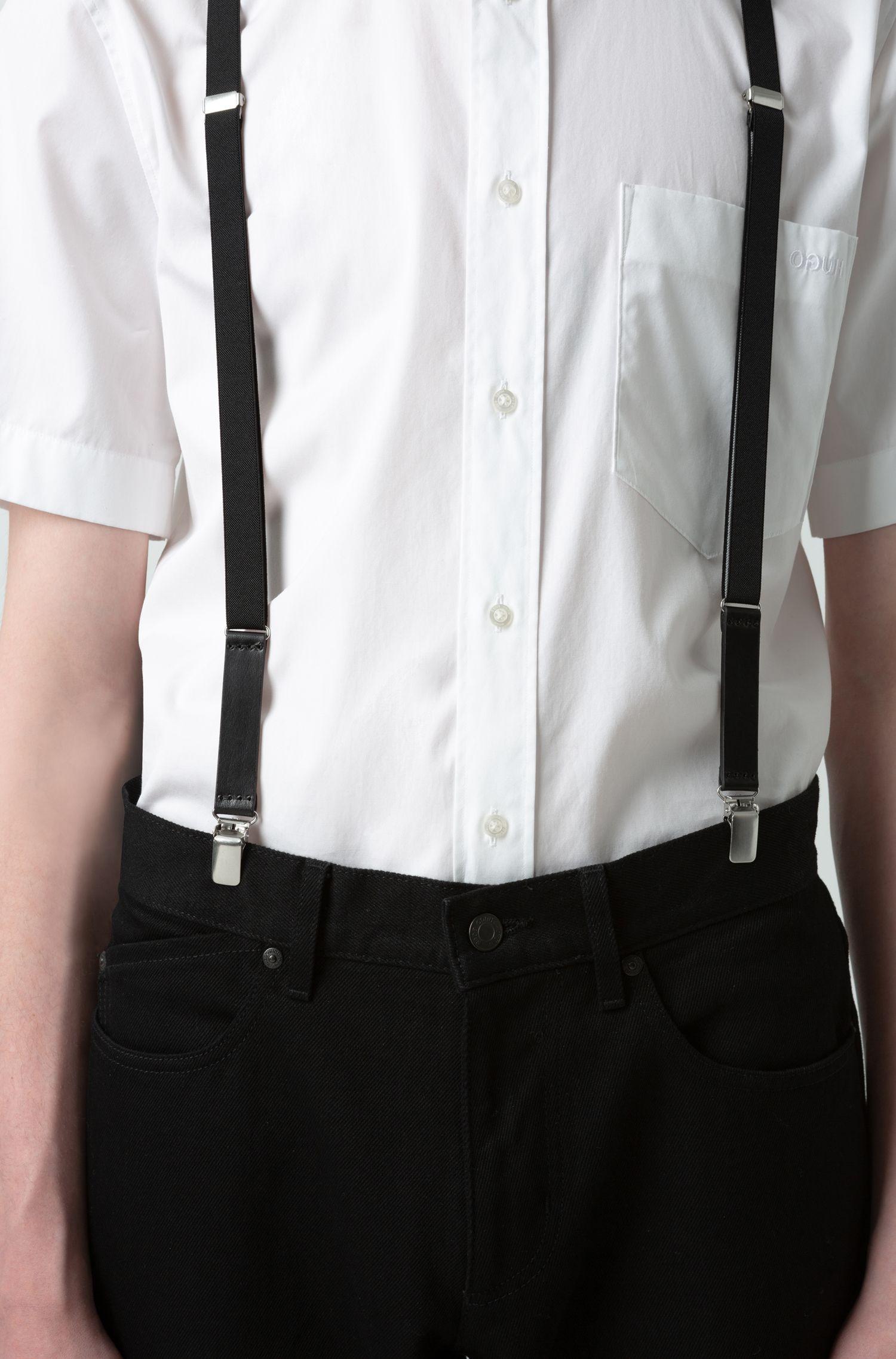 Elastic suspenders with leather trims, Black