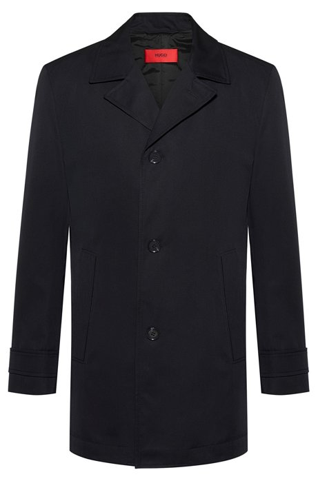 Short-length coat in water-repellent fabric, Black