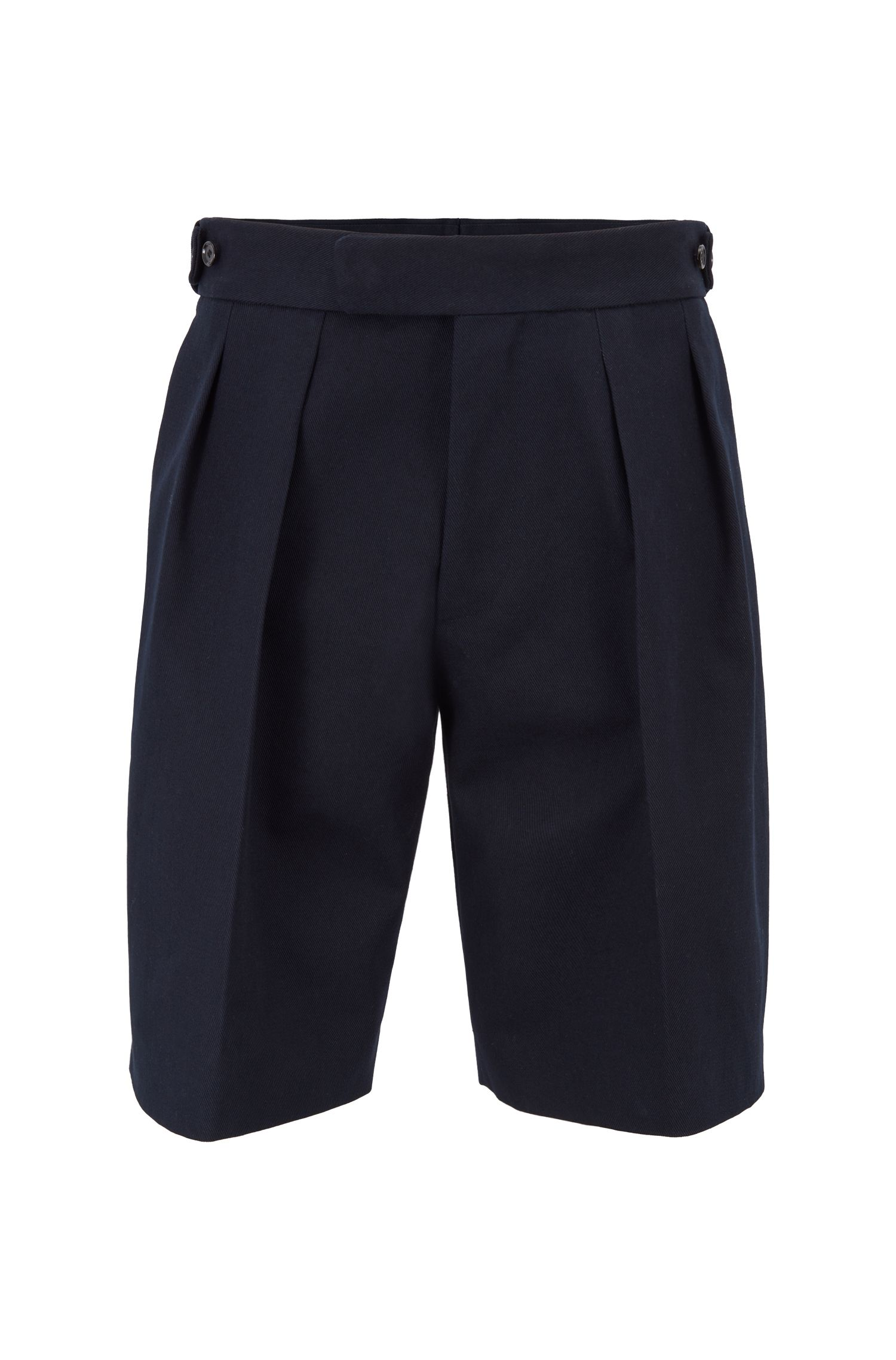 Fashion Show relaxed-fit short pants with front pleats, Dark Blue