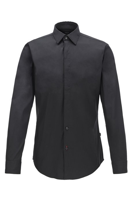 Slim-fit shirt in cotton-rich poplin, Black