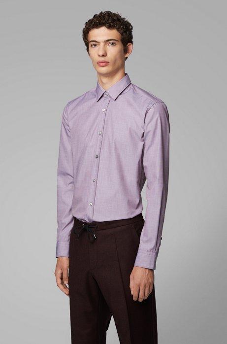 Slim-fit shirt in easy-iron fil á fil cotton, Dark Red