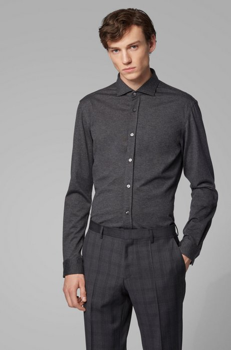 Slim-fit shirt in melange jersey, Open Grey