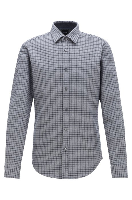 Slim-fit shirt in checked cotton flannel, Dark Blue