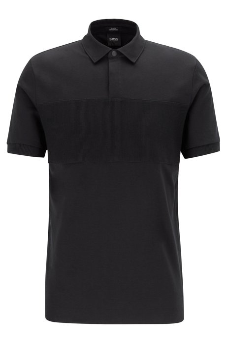 Slim-fit polo shirt in double-mercerized cotton, Black