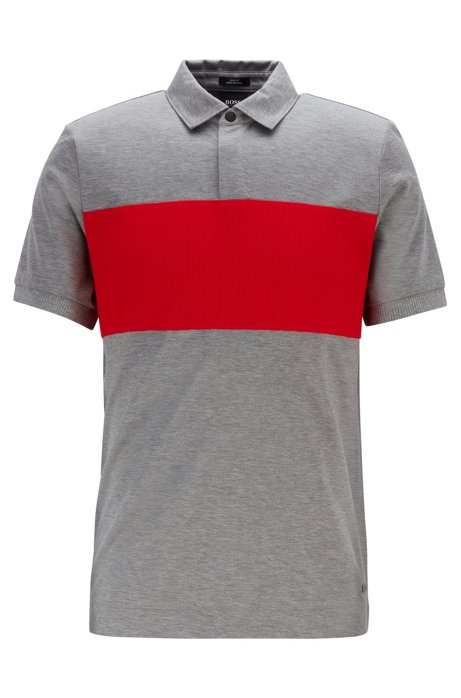 Slim-fit polo shirt in double-mercerized cotton, Silver