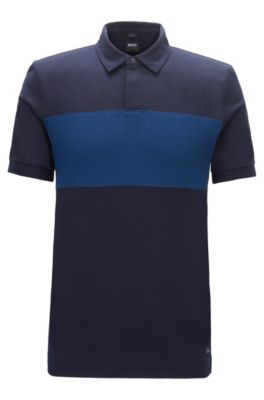 Slim-fit polo shirt in double-mercerized cotton, Dark Blue