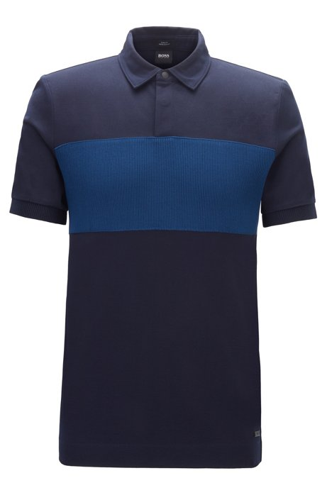 Slim-fit polo shirt in double-mercerized cotton, Dark Blue