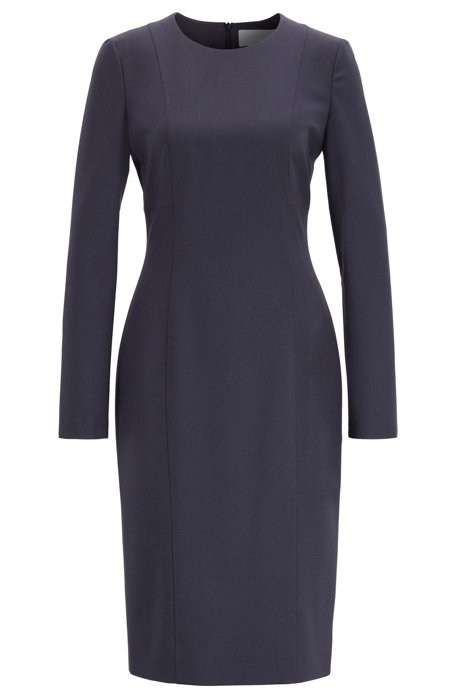 Slim-fit dress in traceable stretch wool, Open Blue