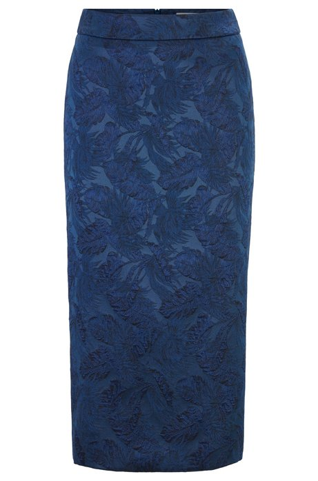 Midi-length pencil skirt in jacquard-woven floral fabric, Blue