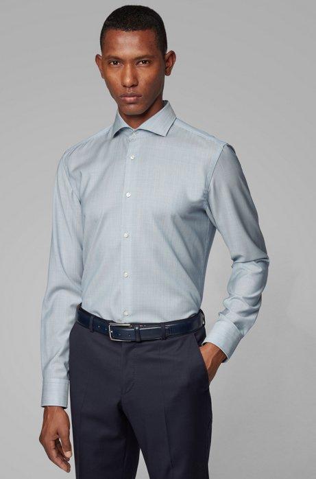 Striped slim-fit shirt in traceable merino wool, Blue