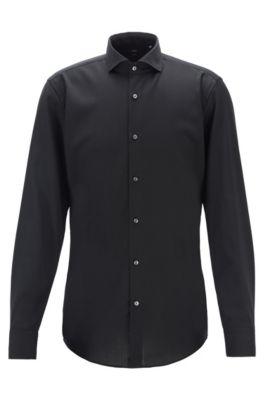 Slim-fit shirt in traceable merino wool, Black