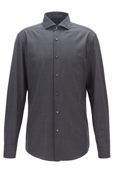 Slim-fit shirt in traceable merino wool, Charcoal