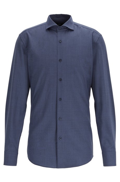 Slim-fit shirt in traceable merino wool, Dark Blue