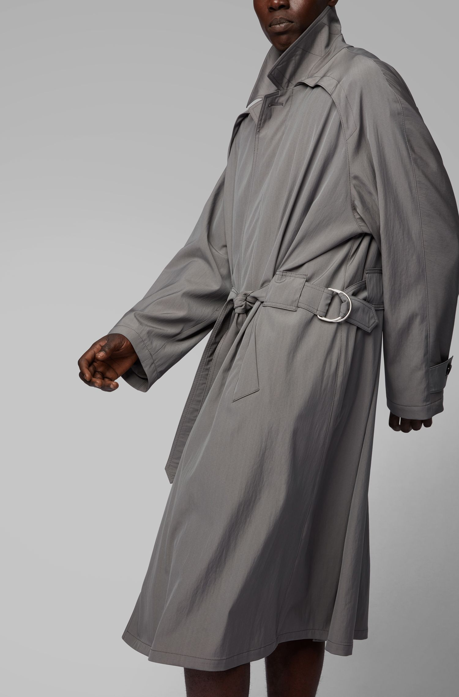 Fashion Show trench coat in a virgin-wool blend, Grey